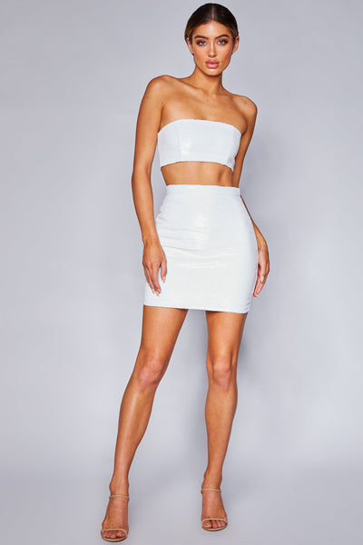 Georgia Sequin Mini Skirt - White - MESHKI