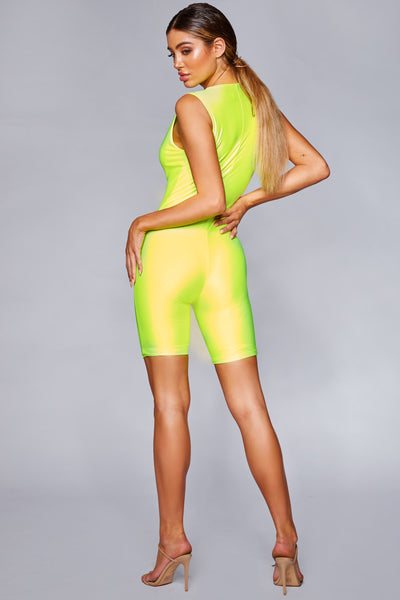 Dakota Chunky Zip Front Fitted Playsuit - Neon Yellow - MESHKI
