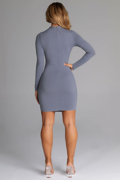 Kylie Long Sleeve Mini Dress - Grey - MESHKI