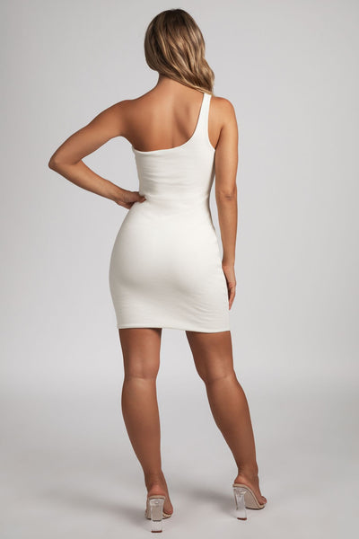 Scarlett One-Shoulder Bodycon Rib Mini Dress - Cream - MESHKI