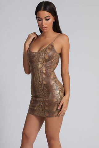 Kiara PU Low Back Dress - Snake Chocolate - MESHKI
