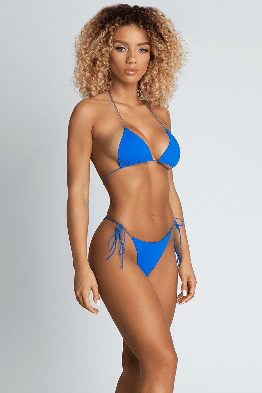 Amalia Tie Up Bikini Bottoms - Bright Blue - MESHKI