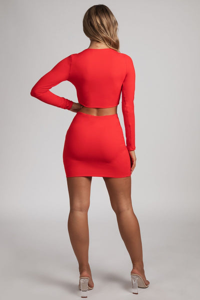 Alyssa V-neck Long Sleeve Crop - Red - MESHKI