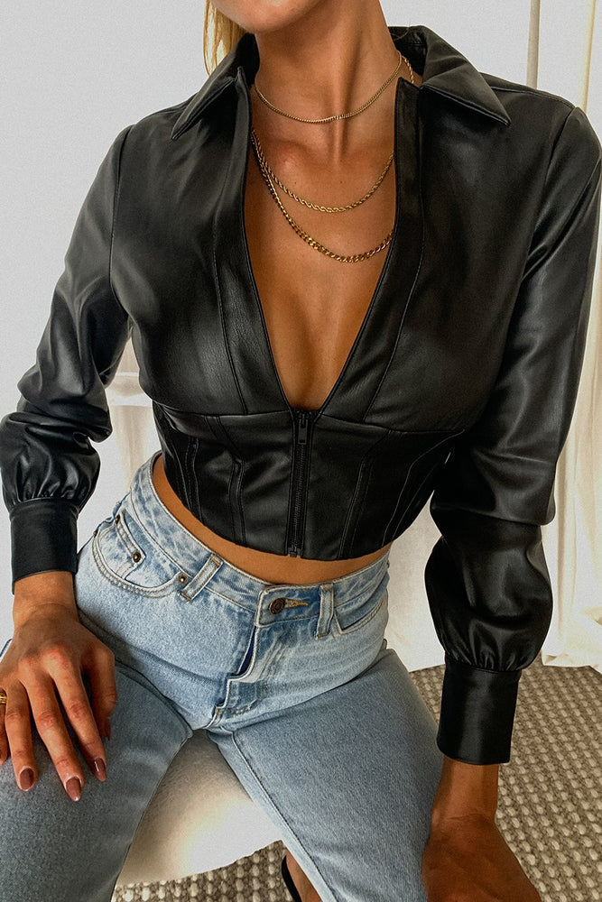 Blake Corset Cropped Jacket - Black