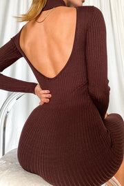 Heidi Low Back Knitted Midi Dress - Chocolate