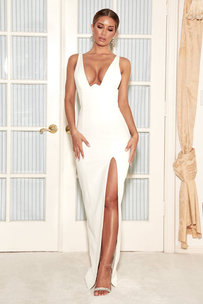 Lillian Corseted Fitted Gown - White