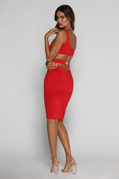 Kavya Crop Top - Red - MESHKI