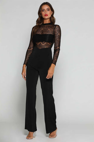Teagan Open Back Lace Jumpsuit - Black - MESHKI