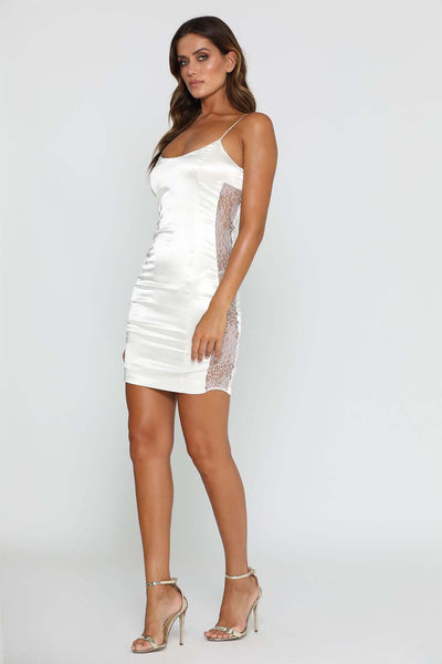 Sama Lace Mini Dress - Ivory - MESHKI