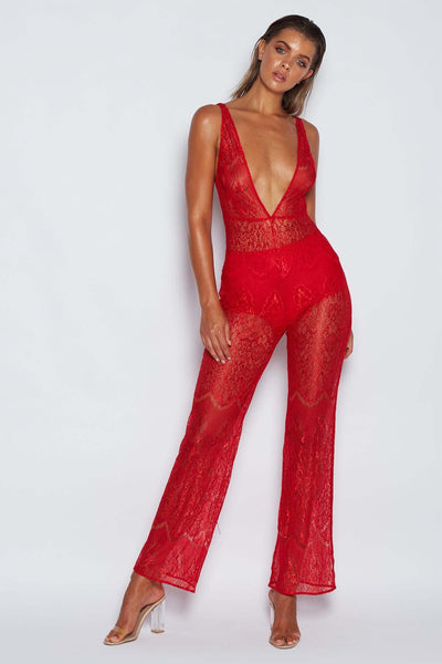Adela Lace Jumpsuit - Red - MESHKI