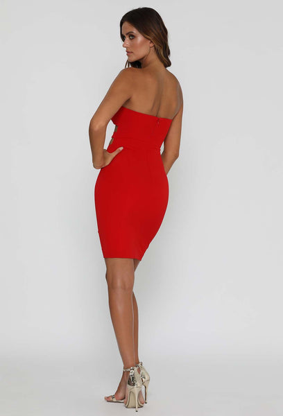 Esma Strapless Midi Dress - Red - MESHKI