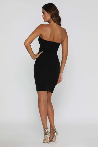 Esma Strapless Midi Dress - Black - MESHKI
