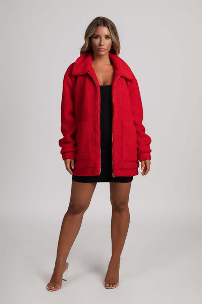 Tabitha Teddy Borg Jacket - Red - MESHKI