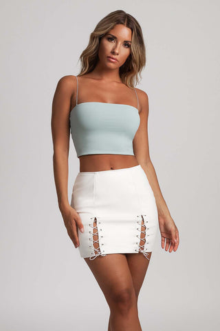 Sada Lace Up Leather Mini Skirt - White - MESHKI