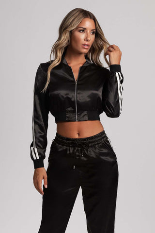 Kylia Satin Sweat Jacket - Black - MESHKI