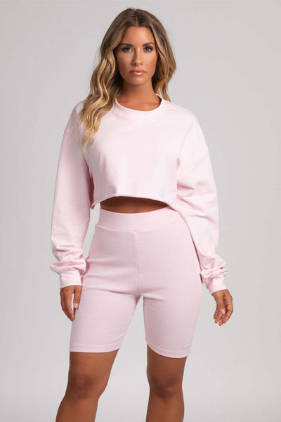 Rona Ribbed Biker Shorts Leggings - Baby Pink - MESHKI