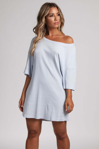 Kenisha Ribbed T - Shirt Dress - Baby Blue - MESHKI