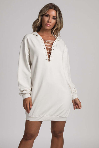Elsa Lace Up Hooded Mini Dress - Cream - MESHKI