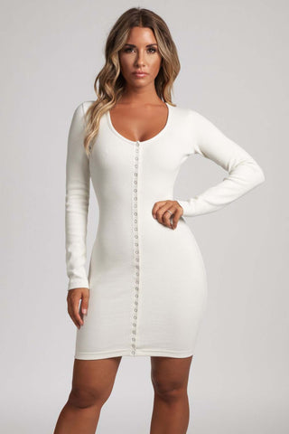Vivien Popper Front Ribbed Mini Dress - Cream - MESHKI