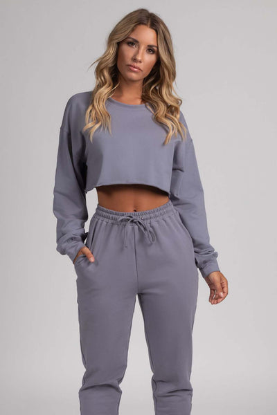 Alice Loose Fit Cropped Jumper - Grey - MESHKI