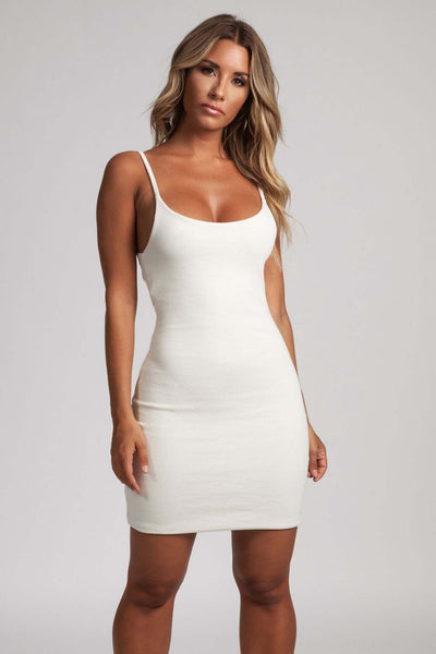 Leah Strappy Ribbed Bodycon Mini Dress - Cream
