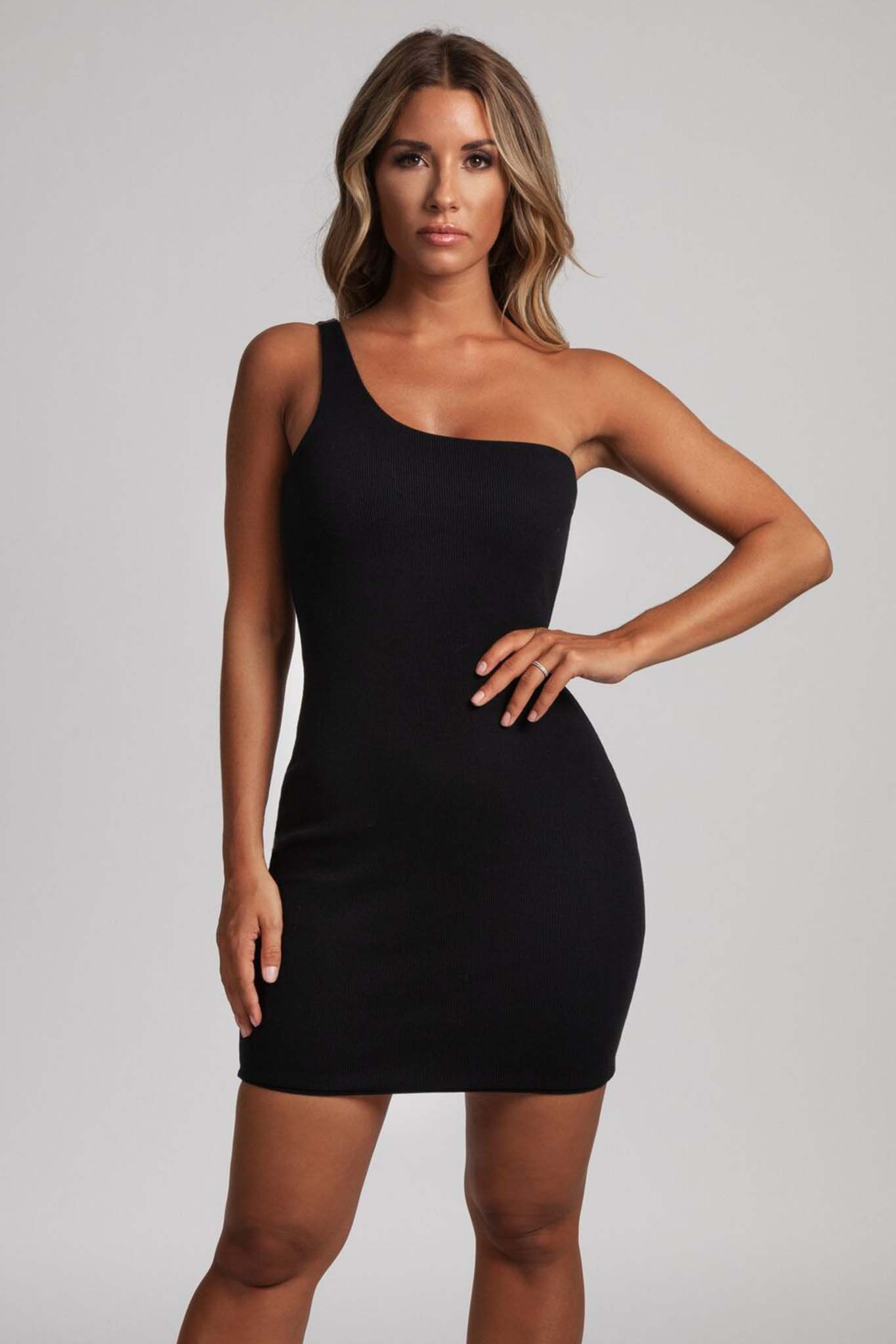 457b49b46a699 Scarlett One-Shoulder Bodycon Rib Mini Dress - Black - MESHKI
