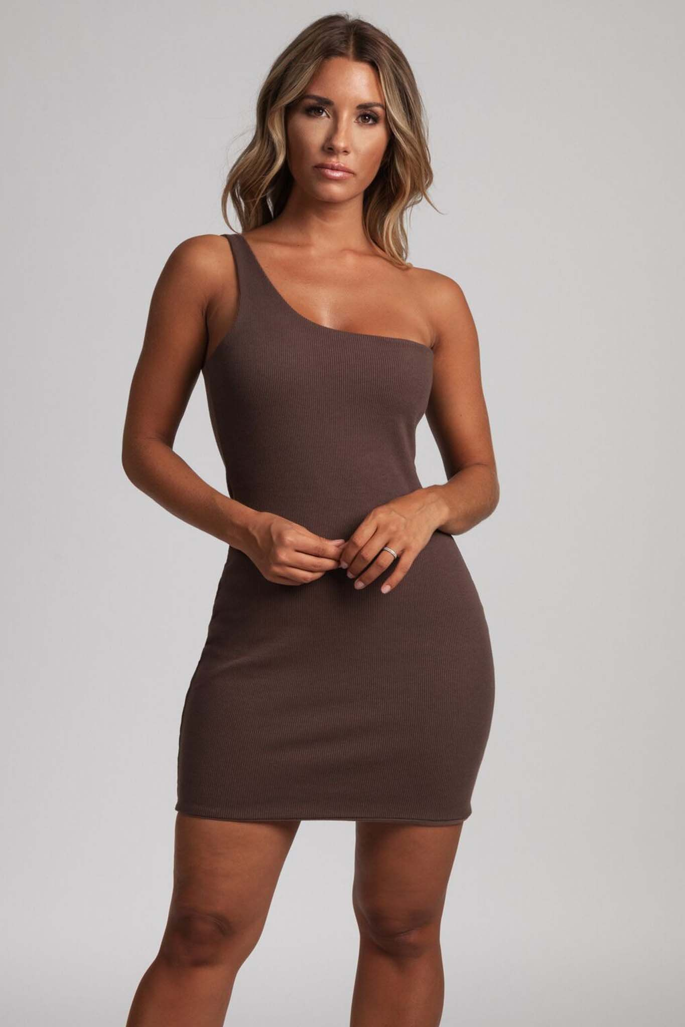 2a856d7c1d93 Scarlett One-Shoulder Bodycon Rib Mini Dress - Chocolate - MESHKI