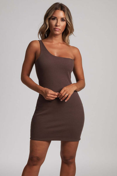 Scarlett One-Shoulder Bodycon Rib Mini Dress - Chocolate - MESHKI