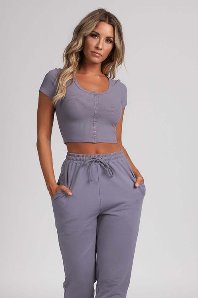 Basia Button Up Crop Top - Grey - MESHKI