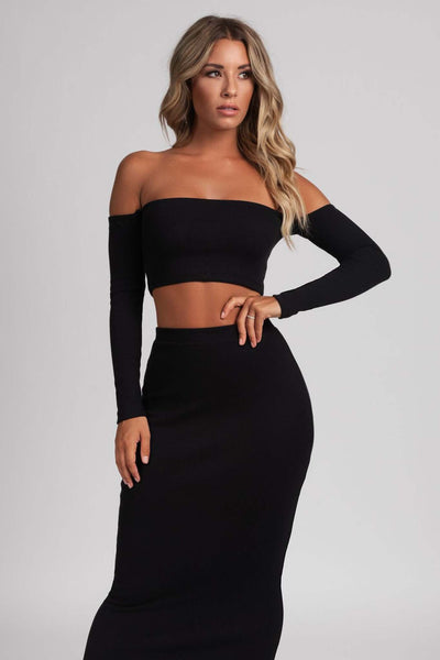 Beatrice Ribbed Bardot Crop Top - Black