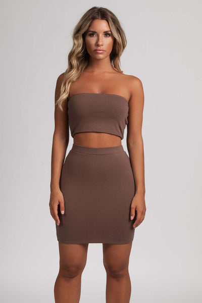 Samantha Jersey Mini Skirt - Chocolate - MESHKI