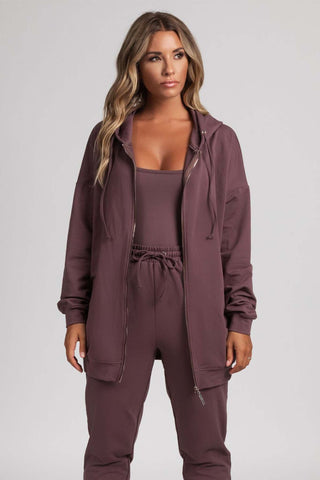 Malee Zip Through Long Hoodie Top - Mauve - MESHKI