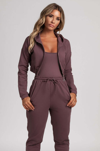Johanna Zip Through Cropped Loopback Hoodie - Mauve