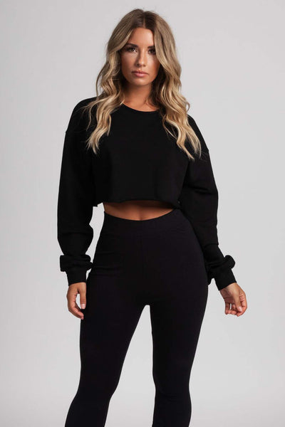 Alice Loose Fit Cropped Jumper - Black - MESHKI