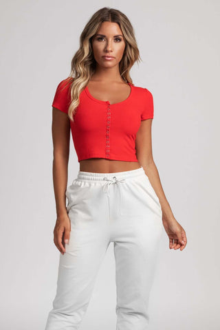 Basia Button Up Crop Top - Red - MESHKI