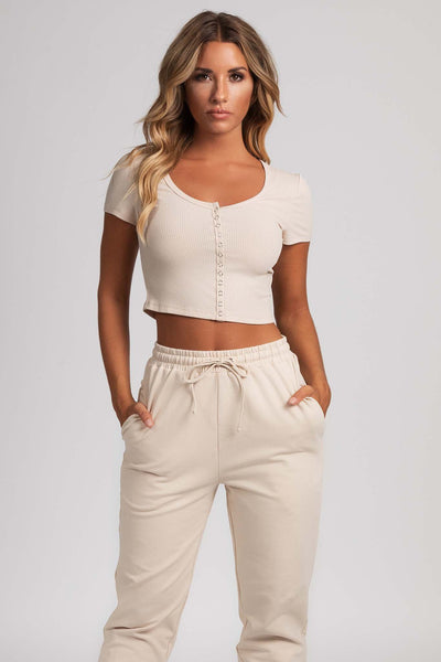 Basia Button Up Crop Top - Nude - MESHKI
