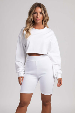 Alice Loose Fit Cropped Jumper - White - MESHKI