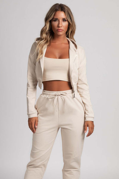 Johanna Zip Through Cropped Loopback Hoodie - Nude - MESHKI