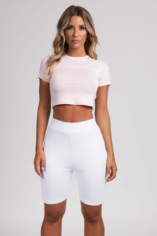 Rona Ribbed Biker Shorts Leggings - White - MESHKI