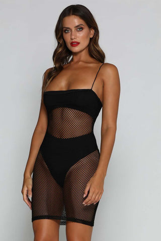 Salma Fishnet Beach Mini Dress - Black - MESHKI