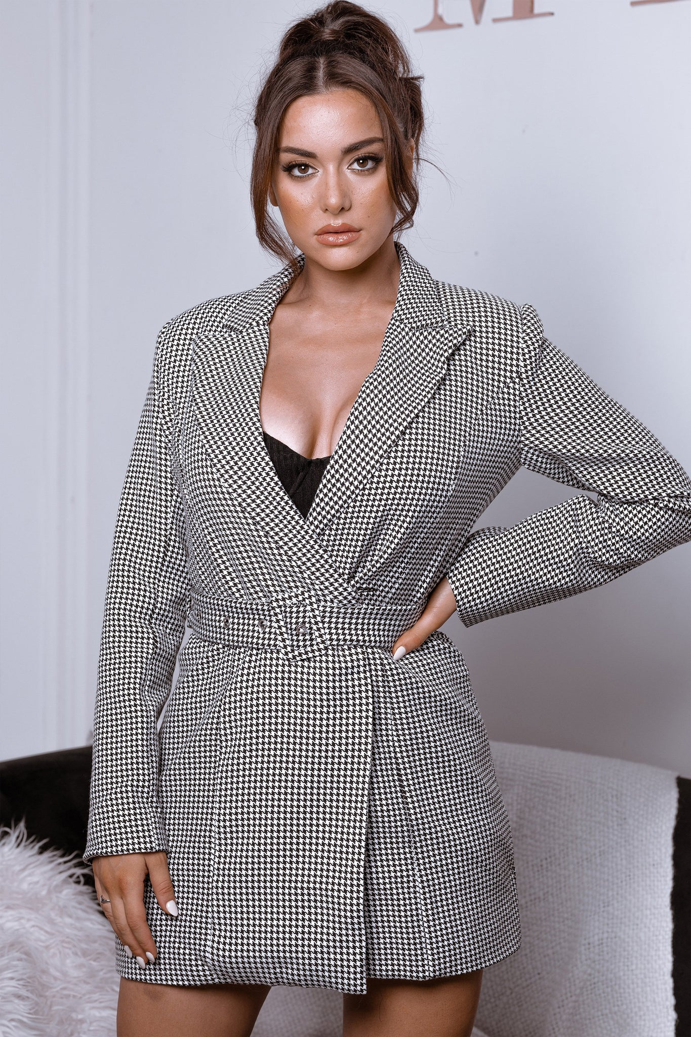 Victoria Double Breasted Blazer Dress - Houndstooth - MESHKI