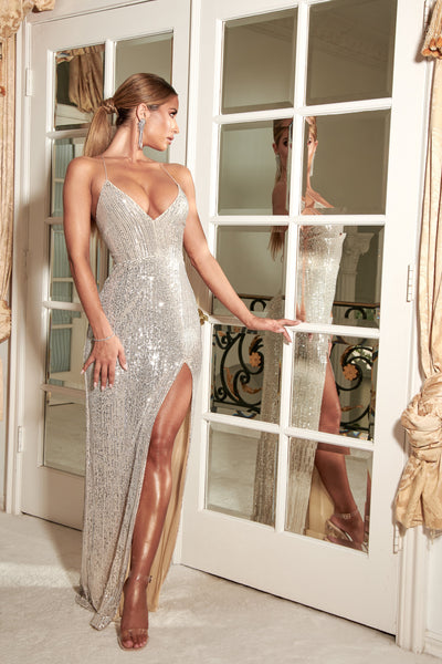 Emilia Sequin Strappy Back Gown - Silver
