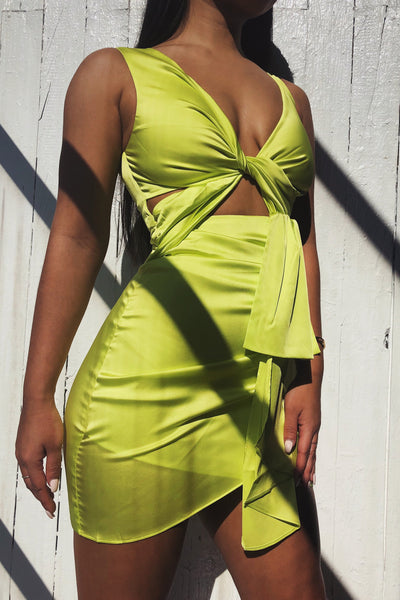 Melody Satin Twist Front Dress - Lime Green