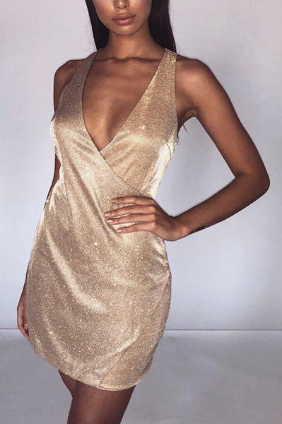 Izzy Two-Tone Glitter Wrap Dress - Gold Shimmer - MESHKI