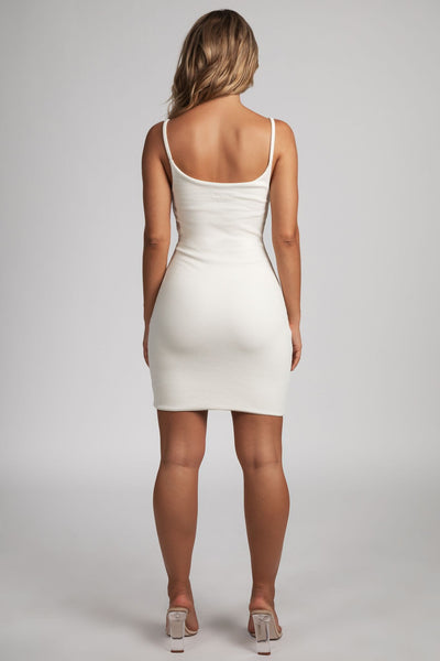 Leah Strappy Ribbed Bodycon Mini Dress - Cream - MESHKI