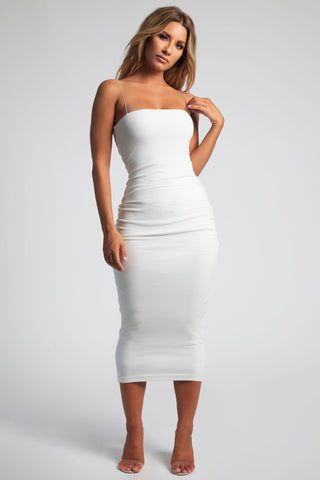 Jalia Thin Strap Ribbed Maxi Dress - White - MESHKI