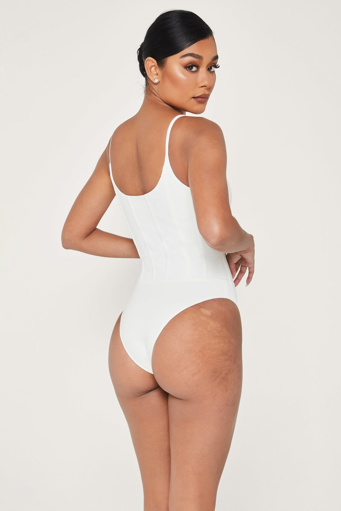 Elvina Panelled Bodysuit - White - MESHKI