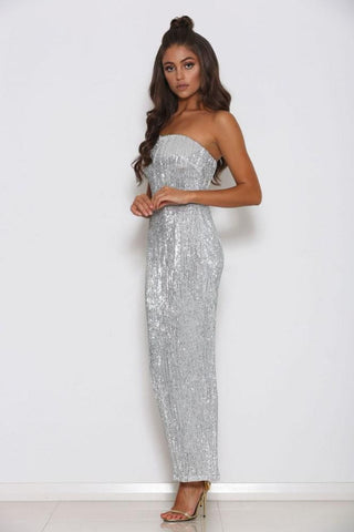 Hilton Strapless Sequin Midi Dress - Silver - MESHKI