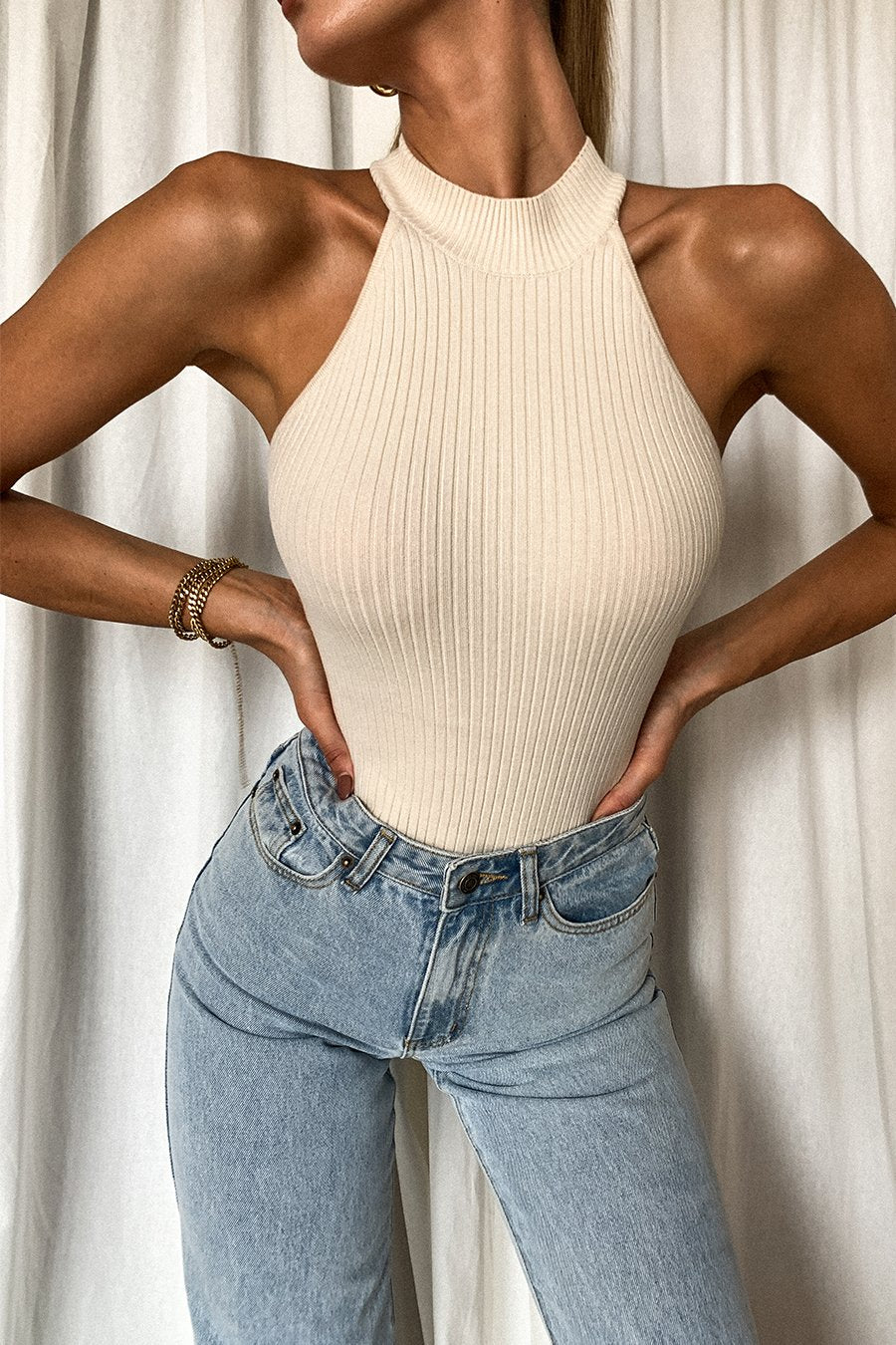 Natalia Racer Neck Knitted Bodysuit - Cream