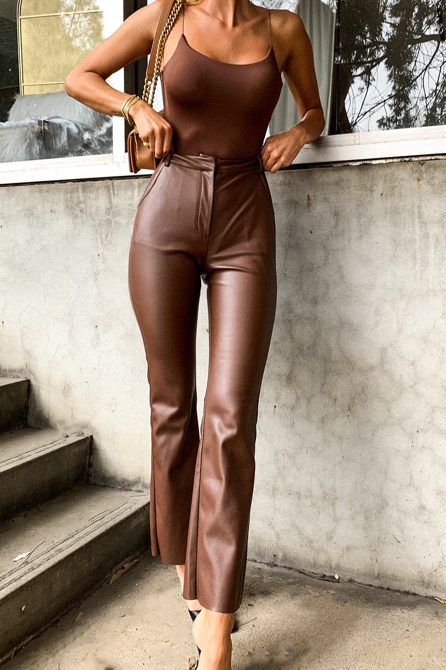 Tyra Straight Leg Faux Leather Pants - Chocolate